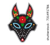 fox in mexican style for day of ... | Shutterstock .eps vector #731491786