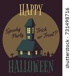 happy halloween poster. cartoon ... | Shutterstock .eps vector #731498716