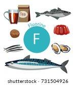 food rich with fluorine.... | Shutterstock . vector #731504926
