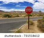 stop sign joshua tree park usa  | Shutterstock . vector #731518612