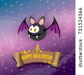 vector happy halloween greeting ... | Shutterstock .eps vector #731524366