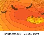 bright orange autumn halloween...   Shutterstock .eps vector #731531095