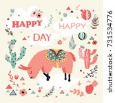 happy lama card with lovely... | Shutterstock . vector #731534776