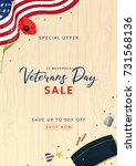 veterans day sale flyer.... | Shutterstock .eps vector #731568136