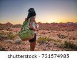 female african american hiker... | Shutterstock . vector #731574985