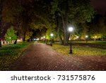 city night park in autumn after ... | Shutterstock . vector #731575876