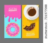 coffee break time with donuts ... | Shutterstock .eps vector #731577088