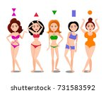 cartoon set of isolated woman... | Shutterstock .eps vector #731583592