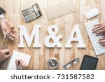 office workstation top view of... | Shutterstock . vector #731587582