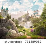 the path to the castle | Shutterstock . vector #731589052