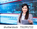 beautiful asian television... | Shutterstock . vector #731591722