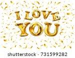 vector golden i love you sign.... | Shutterstock .eps vector #731599282