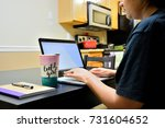 a woman working from home | Shutterstock . vector #731604652