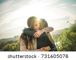 happy meeting of two friends... | Shutterstock . vector #731605078