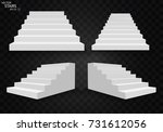 white stairs  3d staircases.... | Shutterstock .eps vector #731612056