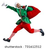 xmas time and green elf  | Shutterstock . vector #731612512