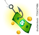 dollar banknote on the hook.... | Shutterstock .eps vector #731617486