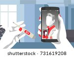 doctor consults by phone | Shutterstock .eps vector #731619208