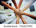 top view of business people... | Shutterstock . vector #731627392