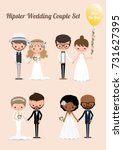 hipster wedding couple set ... | Shutterstock .eps vector #731627395