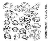 sketch hand drawn vareniki.... | Shutterstock .eps vector #731627506