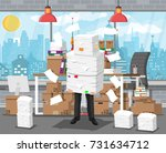 stressed businessman holds pile ... | Shutterstock .eps vector #731634712
