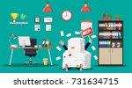 stressed businessman under pile ...   Shutterstock .eps vector #731634715