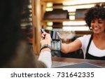 customer making wireless or... | Shutterstock . vector #731642335