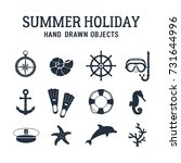 hand drawn summer holiday... | Shutterstock .eps vector #731644996