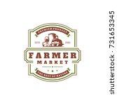 farmers market logo template...   Shutterstock .eps vector #731653345