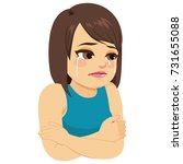 illustration of sad depressed... | Shutterstock .eps vector #731655088
