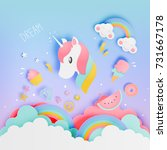 unicorn in paper art style with ... | Shutterstock .eps vector #731667178