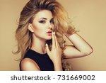 beautiful fashionable young... | Shutterstock . vector #731669002