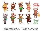 santa's reindeer set. vector... | Shutterstock .eps vector #731669722