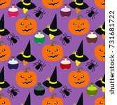 halloween seamless pattern with ... | Shutterstock .eps vector #731681722