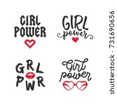 girl power typography set.... | Shutterstock .eps vector #731690656