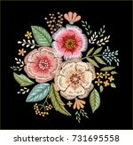 embroidered bouquet of flowers. ... | Shutterstock .eps vector #731695558