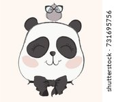 cute panda with bird vector...   Shutterstock .eps vector #731695756