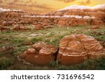 red boulders with white stripes ... | Shutterstock . vector #731696542