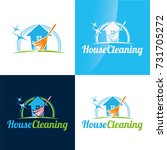 house cleaning icon and logo  ... | Shutterstock .eps vector #731705272