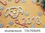 christmas picture. marshmallow. ... | Shutterstock . vector #731705695