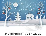 paper cut and craft winter... | Shutterstock .eps vector #731712322