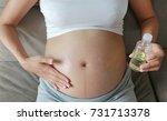 pregnant woman applying cream... | Shutterstock . vector #731713378