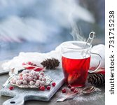 cranberry in sugar on a plate... | Shutterstock . vector #731715238