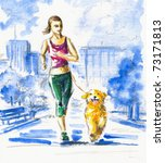young woman running with dog... | Shutterstock . vector #73171813