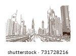 hand drawn sketch of metro line ... | Shutterstock .eps vector #731728216