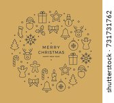christmas wreath icons elements ... | Shutterstock .eps vector #731731762