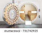 Open Bank Vault With Golden...