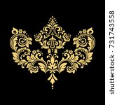 golden pattern on a black... | Shutterstock . vector #731743558