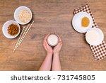 plant alternative milk recipe ... | Shutterstock . vector #731745805